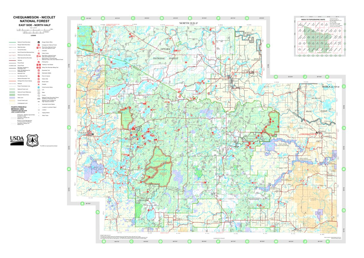 Chequamegon-Nicolet National Forest East Side-North Half 2015 - US on