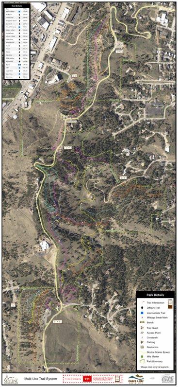 Skyline Wilderness Area Trail Map City Of Rapid City Avenza Maps