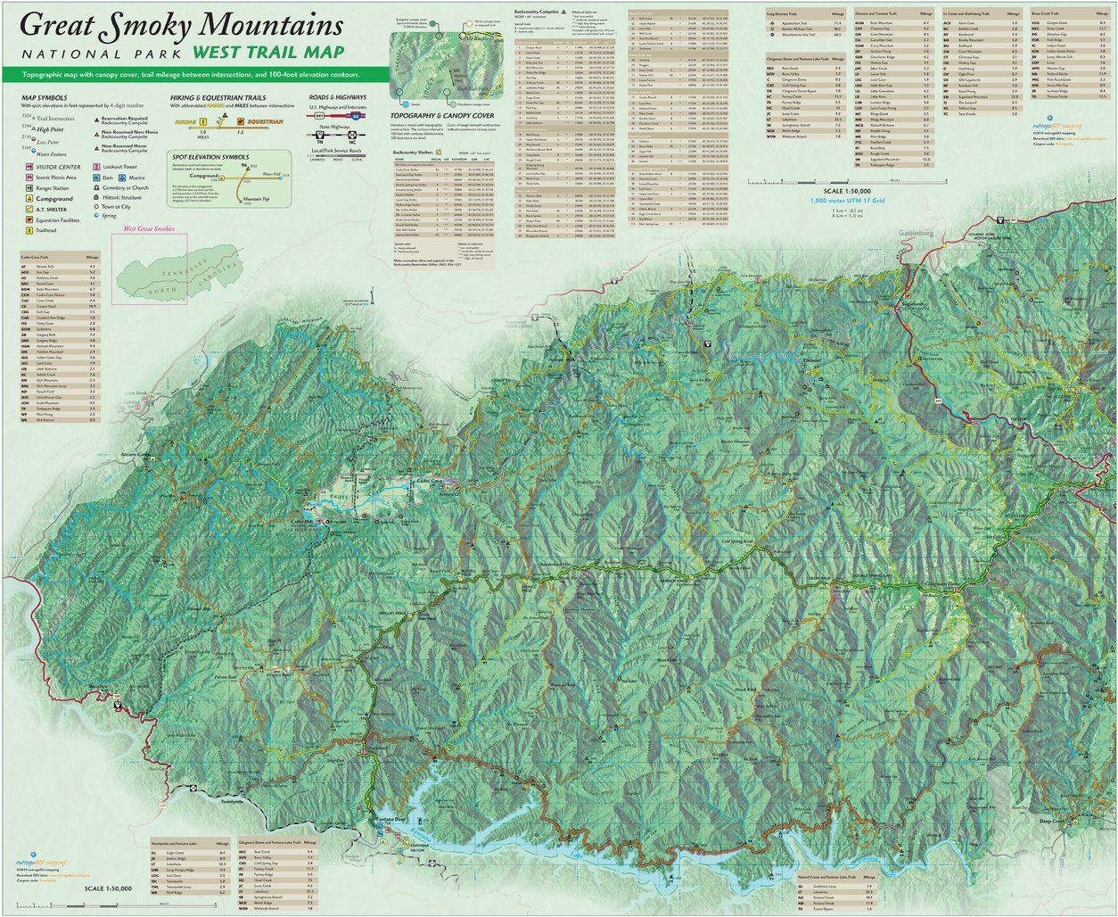 Great Smoky Mountains NP Trail Map West - outrageGIS mapping ...