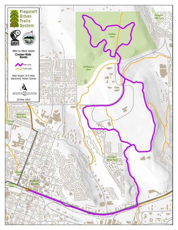 Flagstaff BTWW Cruiser Ride Route 2016