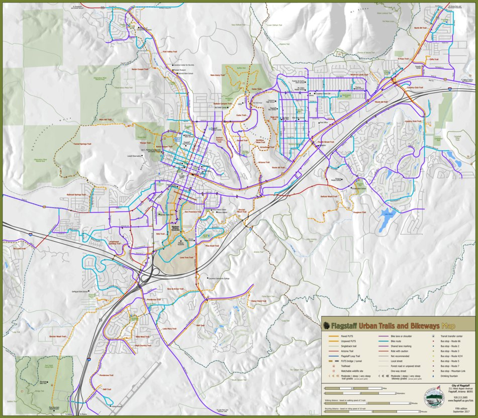 Flagstaff Urban Trails and Bikeways Map