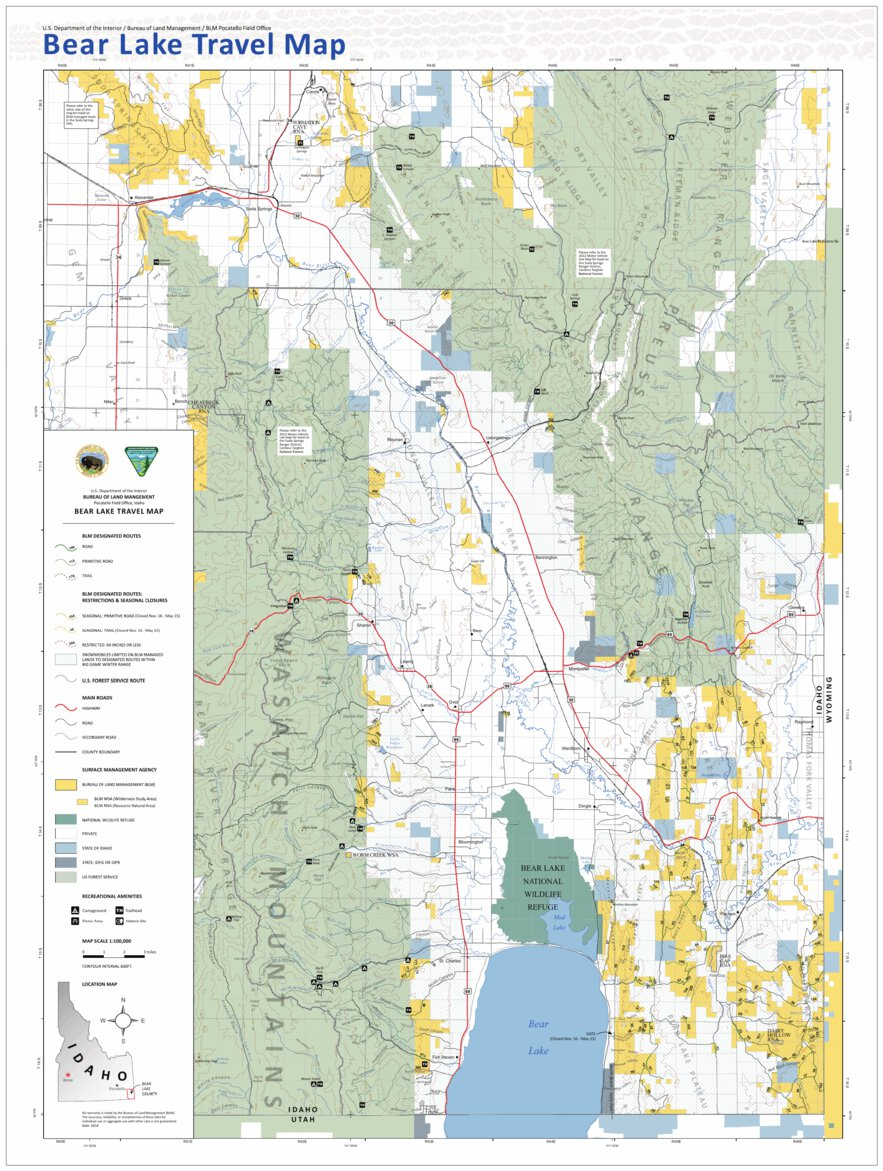 Blm Idaho Bear Lake Travel Map Bureau Of Land Management