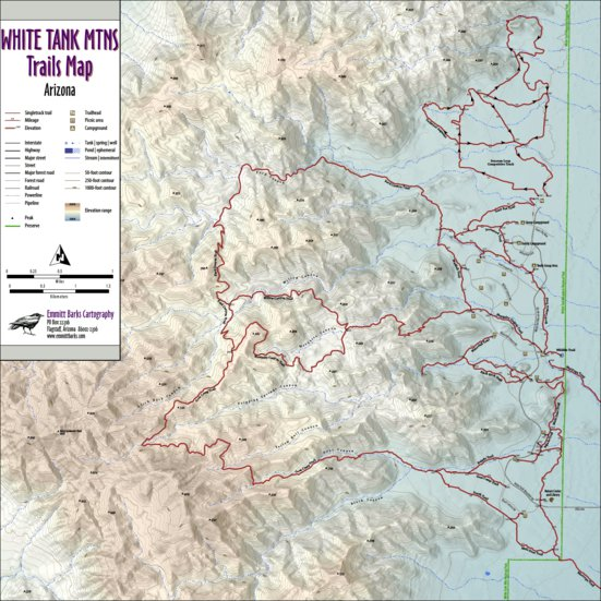 White Tank Mountains Trails Map - Emmitt Barks Cartography ...