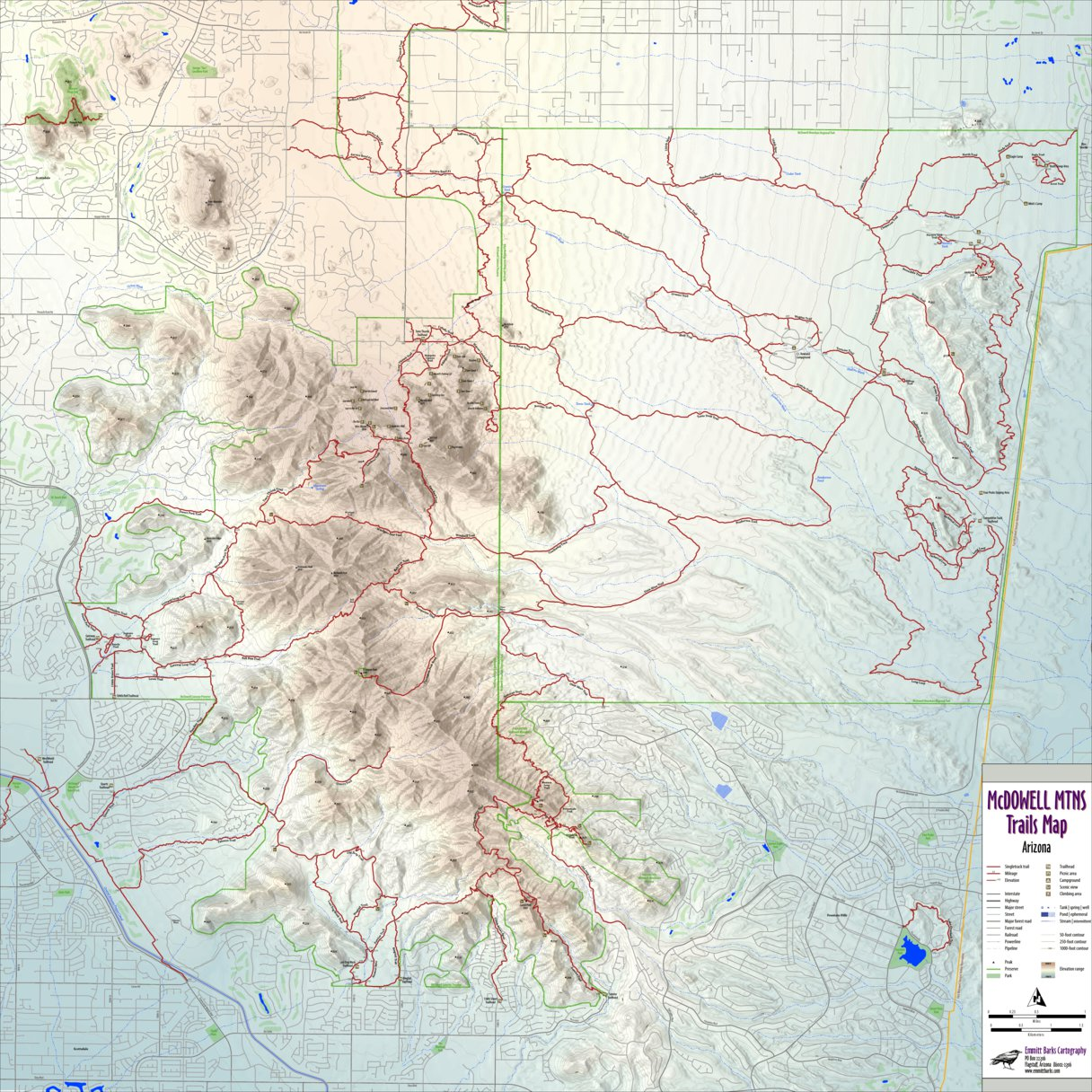 McDowell Mountains Trails Map - Emmitt Barks Cartography - Avenza Maps
