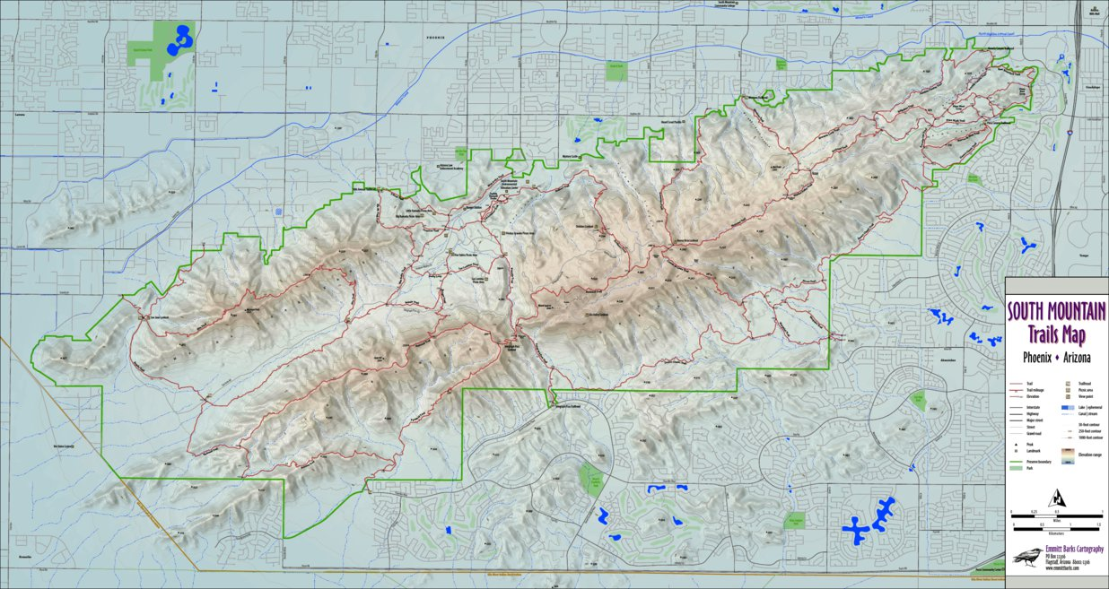 Map Of South Arizona.South Mountain Preserve Trails Map Emmitt Barks Cartography