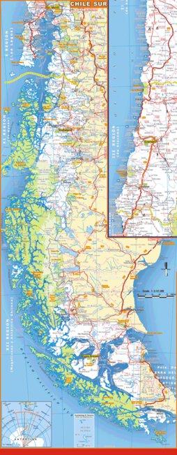 Mapa Sur De Chile.Mapa De Rutas Y Caminos De Chile Zona Sur Mapas Argenguide De Latinbaires Editores Srl Avenza Maps