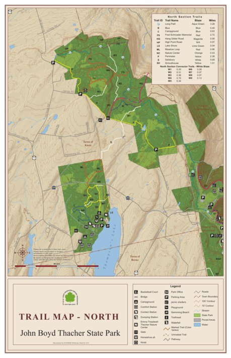 John Boyd Thacher State Park Trail Map - North