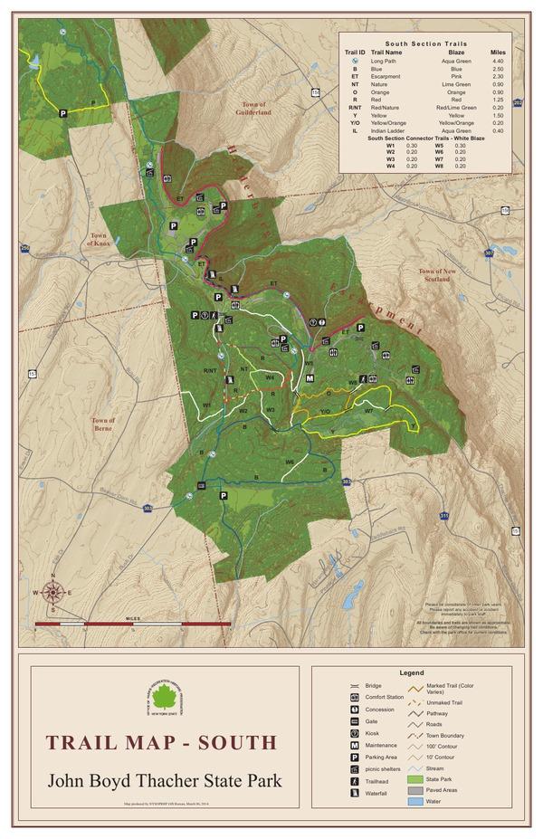 John Boyd Thacher State Park Trail Map - South