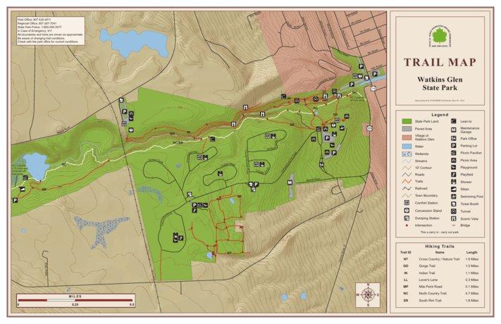 Watkins Glen State Park New York Map Watkins Glen State Park Trail Map   New York State Parks   Avenza Maps