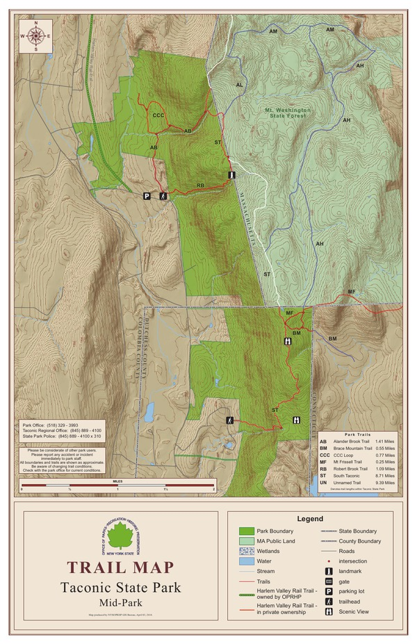 Taconic State Park Trail Map Middle