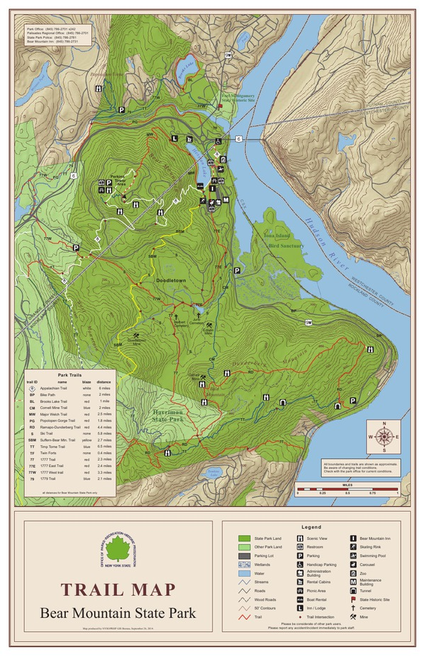 Bear Mountain State Park Trail Map