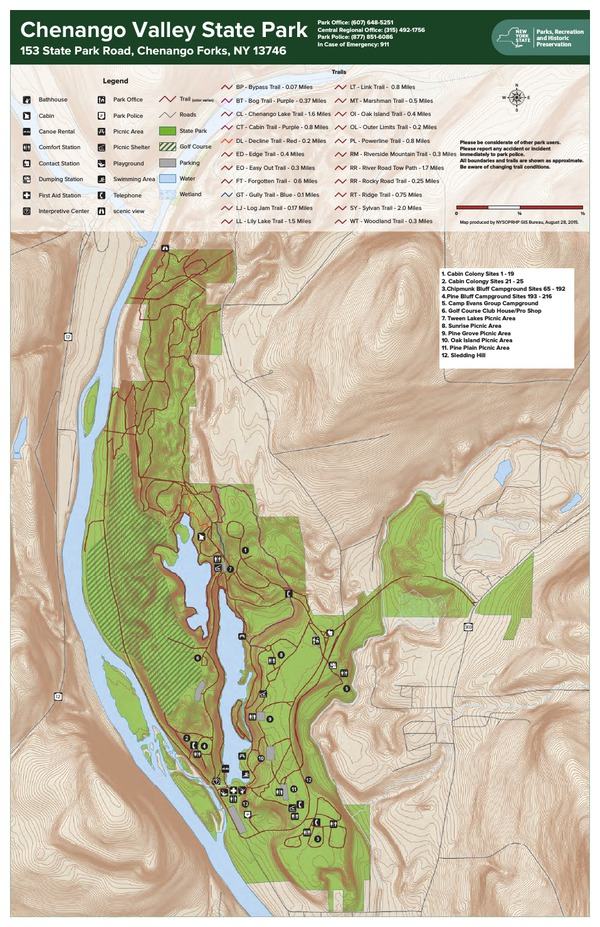 Chenango Valley State Park Trail Map