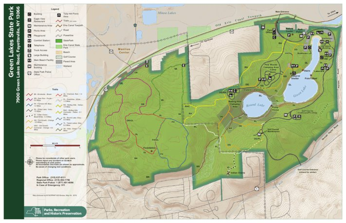 Green lakes state park trail map new york state parks avenza maps labels sciox Images