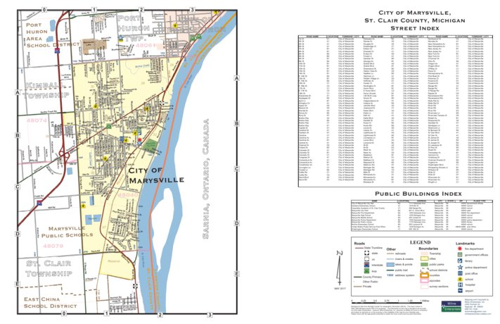 Marysville Michigan Map.City Of Marysville St Clair County Mi Milne Enterprises Inc