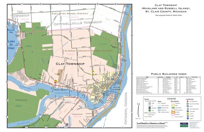 Algonac Michigan Map.Clay Township East Part St Clair County Mi Milne Enterprises
