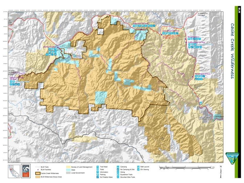 Rockhounding California Map.Blm Cache Creek Wilderness Blm California Avenza Maps