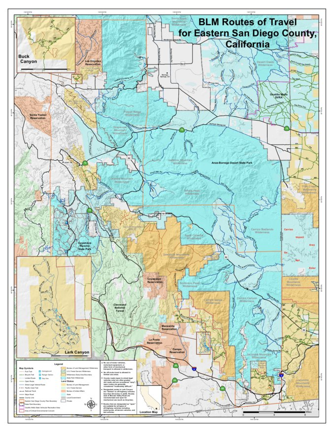 Map Of California Blm Land.Blm Eastern San Diego Cnty Routes Blm California Avenza Maps