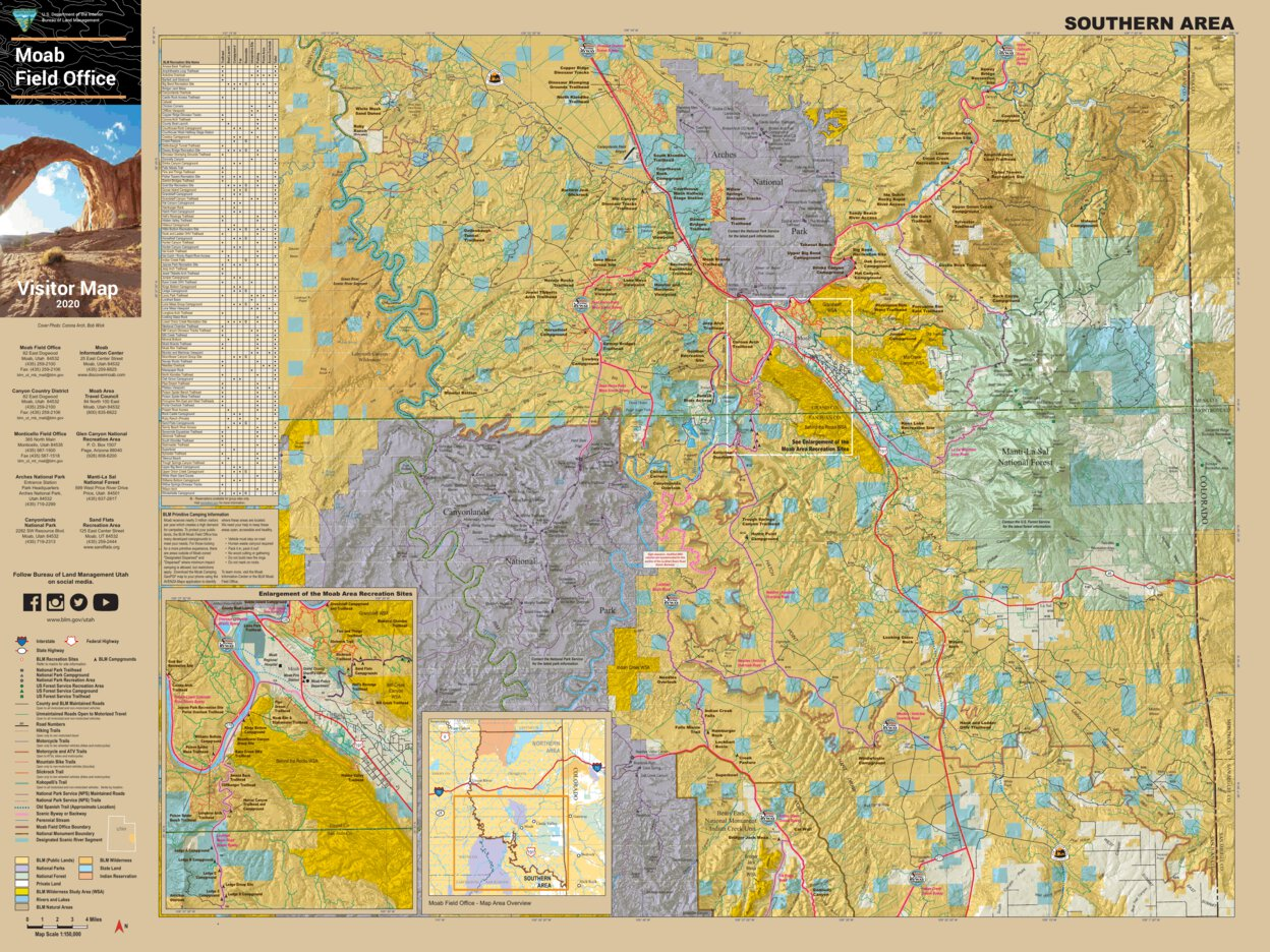 Blm Utah Moab Visitor Map South Bureau Of Land Management Utah Avenza Maps