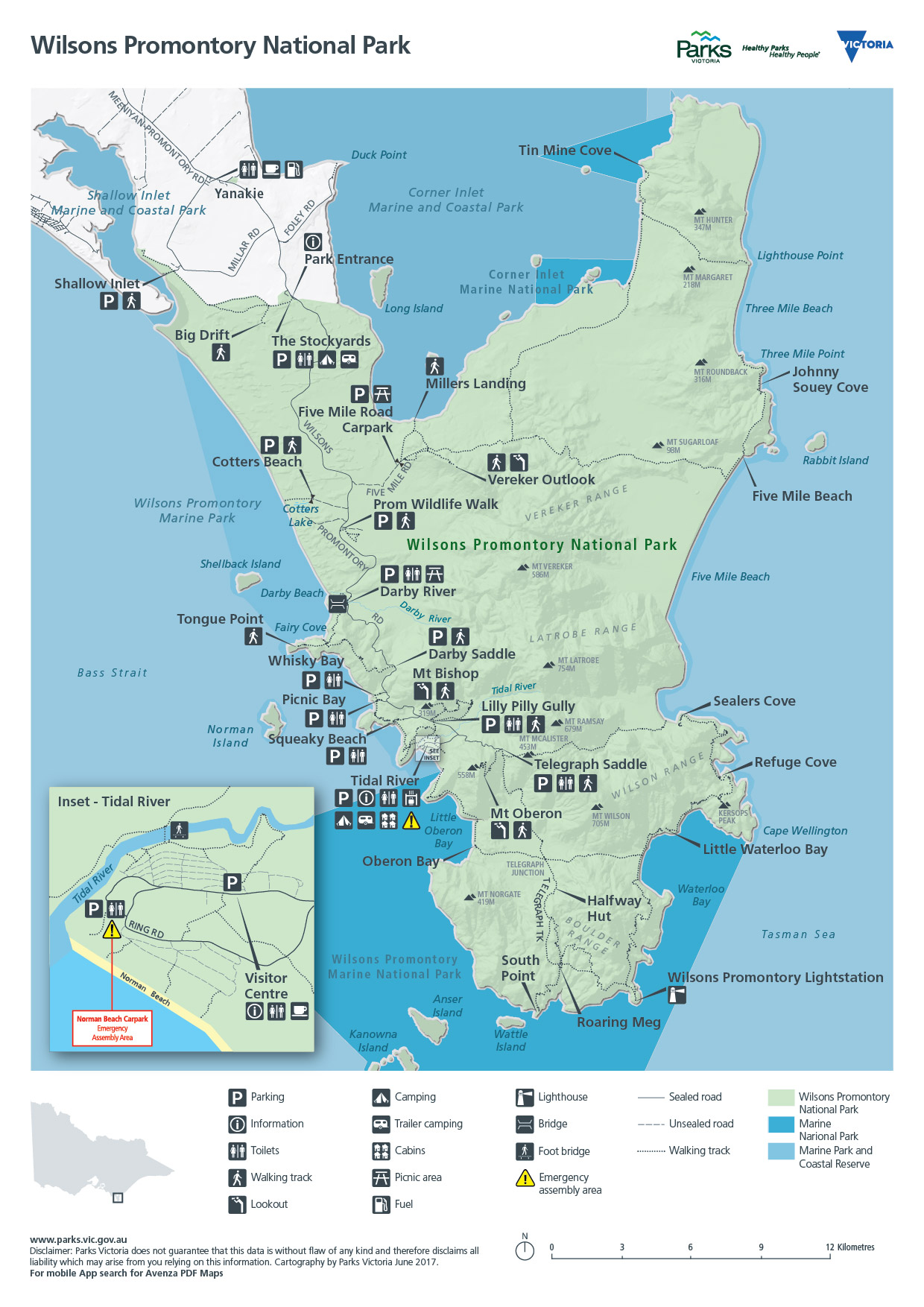 Wilsons Promontory Map Wilsons Promontory National Park   Entire Park   Parks Victoria  Wilsons Promontory Map