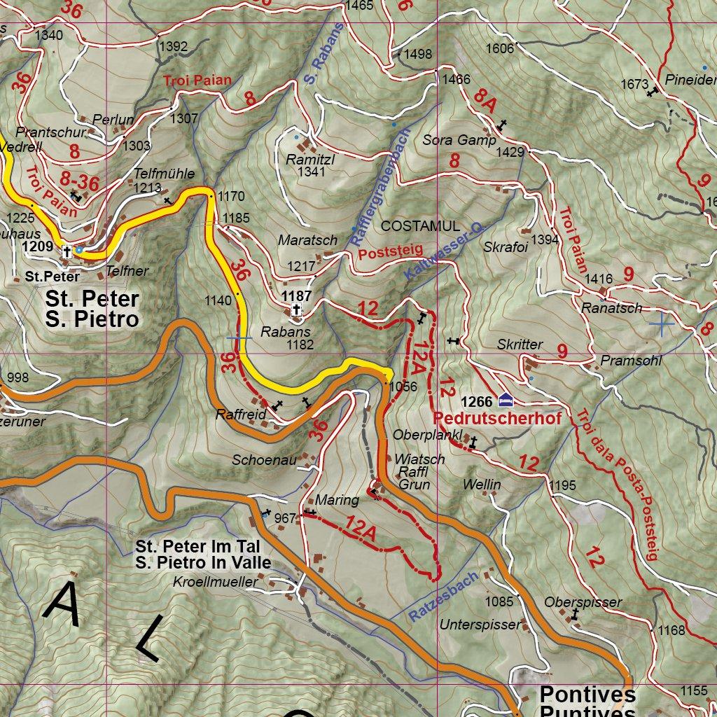 4LAND 182 Grden Villnsstal Seiser Alm Val Gardena Val di Funes