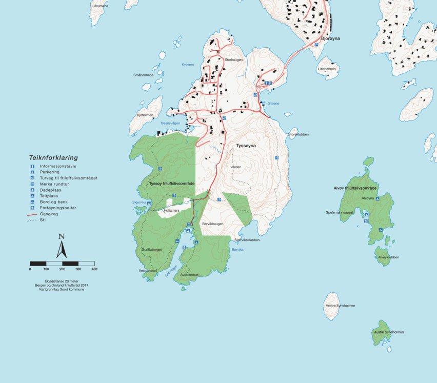 Glimrende Kart Tyssøy friluftslivsområde - Bergen og Omland Friluftsråd JM-72