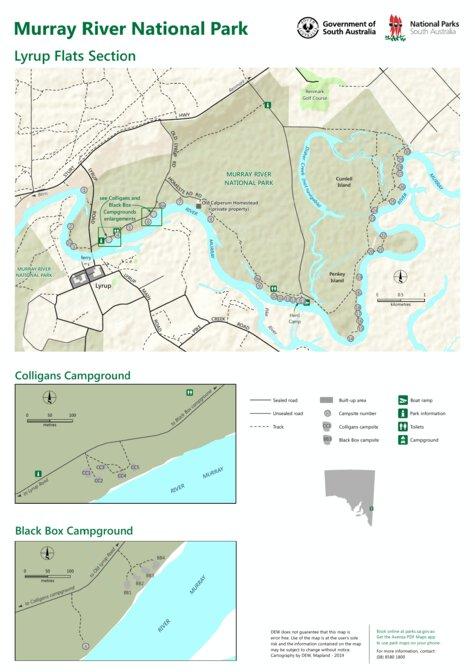 Australia Map Murray River.Murray River National Park Lyrup Flats Department For