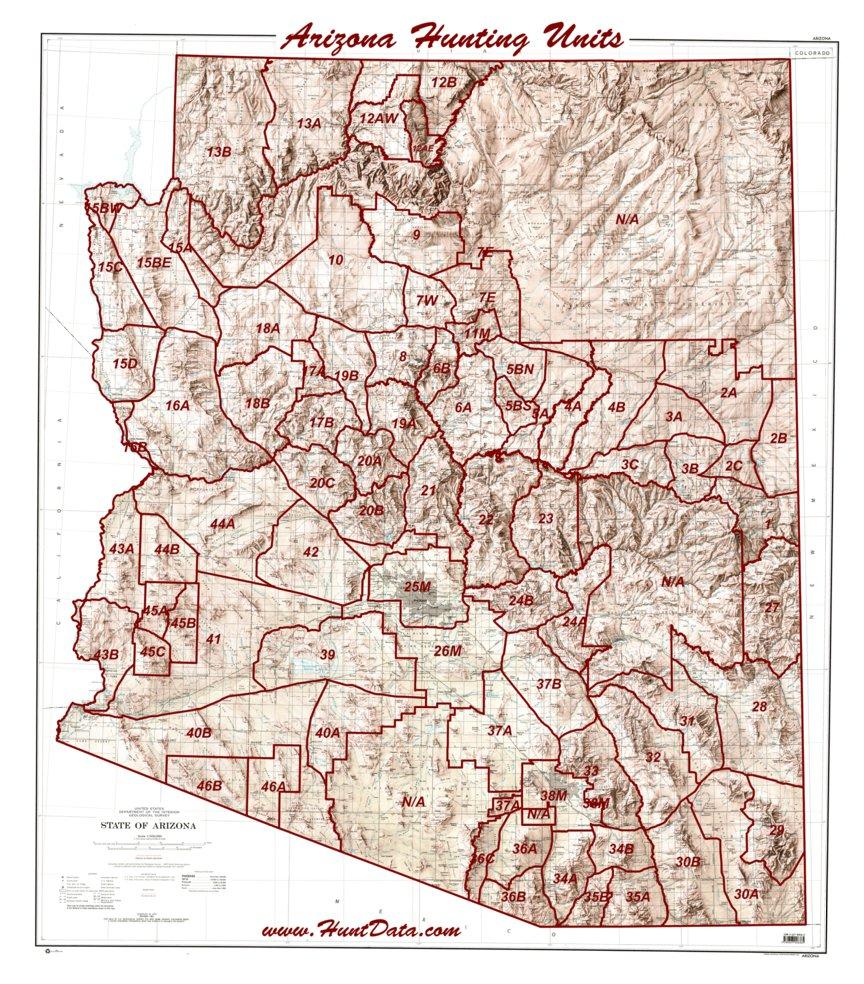Arizona Unit Map Arizona Unit Map PDF Maps 2015   HuntData LLC   Avenza Maps Arizona Unit Map