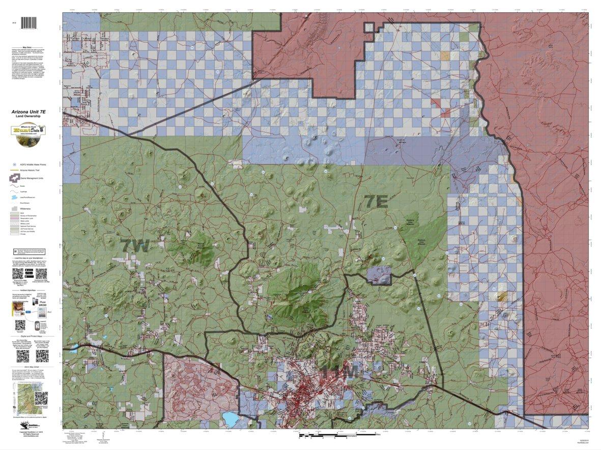 Map Of Arizona Land Ownership.Huntdata Arizona Land Ownership Unit 7e Huntdata Llc Avenza Maps