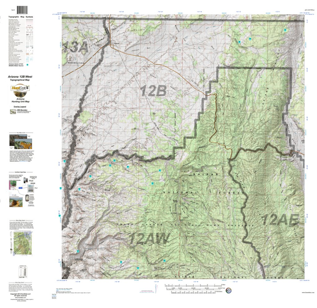 HuntData Arizona Hunt Unit BWest Topo Map HuntData LLC - Map arizona