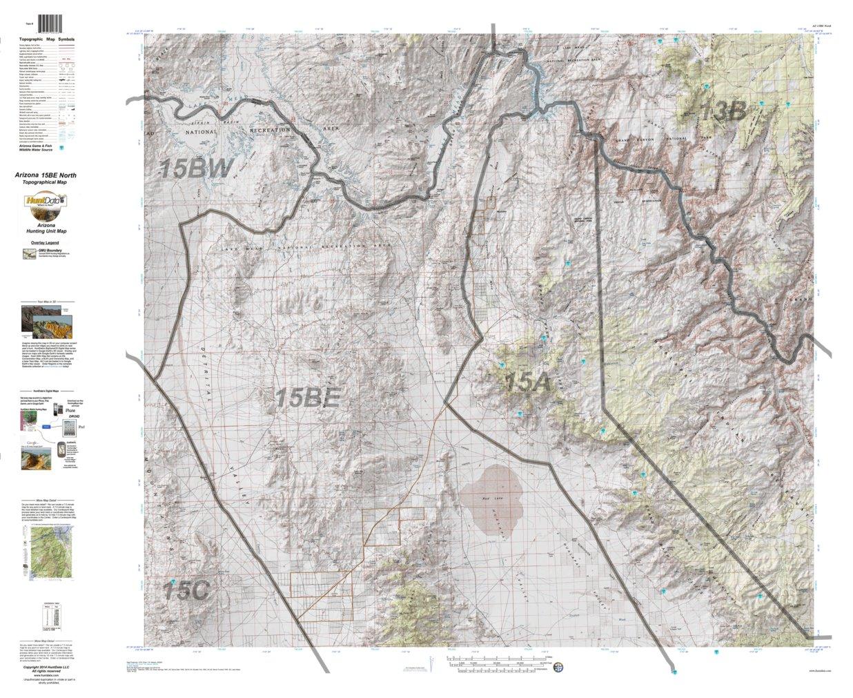 North Arizona Map.Huntdata Arizona Hunt Unit 15b North Topo Map Huntdata Llc