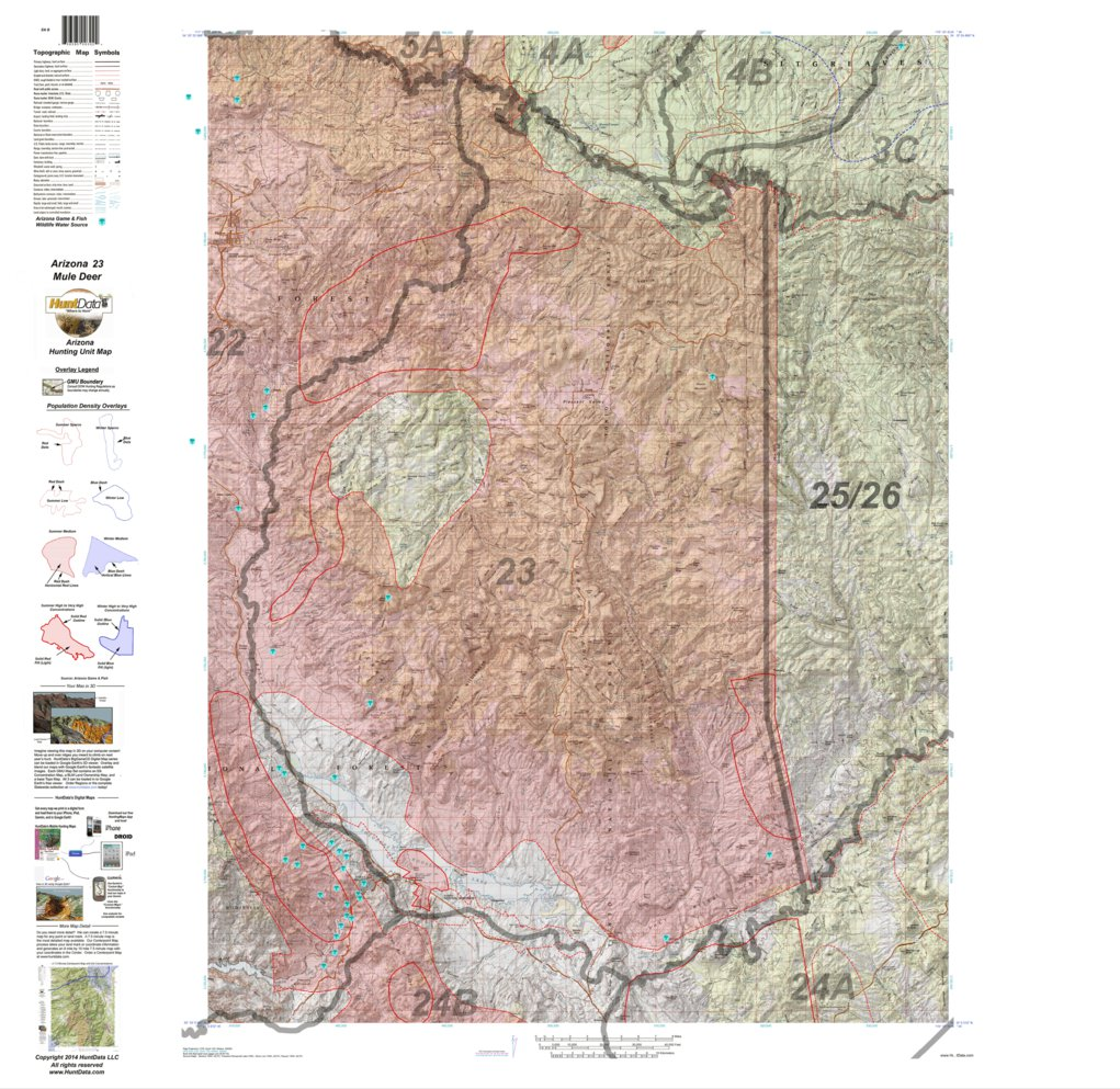 Map Of Unit 23 Arizona.Huntdata Arizona Mule Deer Hunt Unit 23 Game Concentration Map