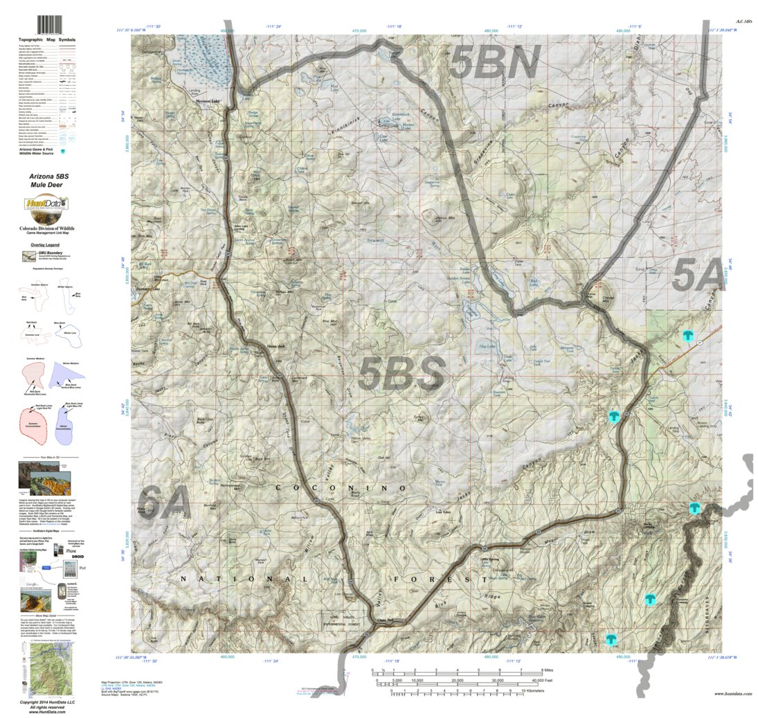 Map Of South Arizona.Huntdata Arizona Hunt Unit 5b South Topo Map Huntdata Llc Avenza