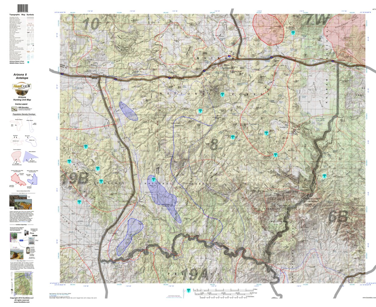 HuntData Arizona Antelope Hunt Unit 8 Game Concentration Map