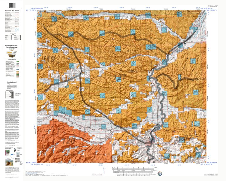 HuntData Wyoming Land Ownership Map for Mule Deer Unit 127 ...