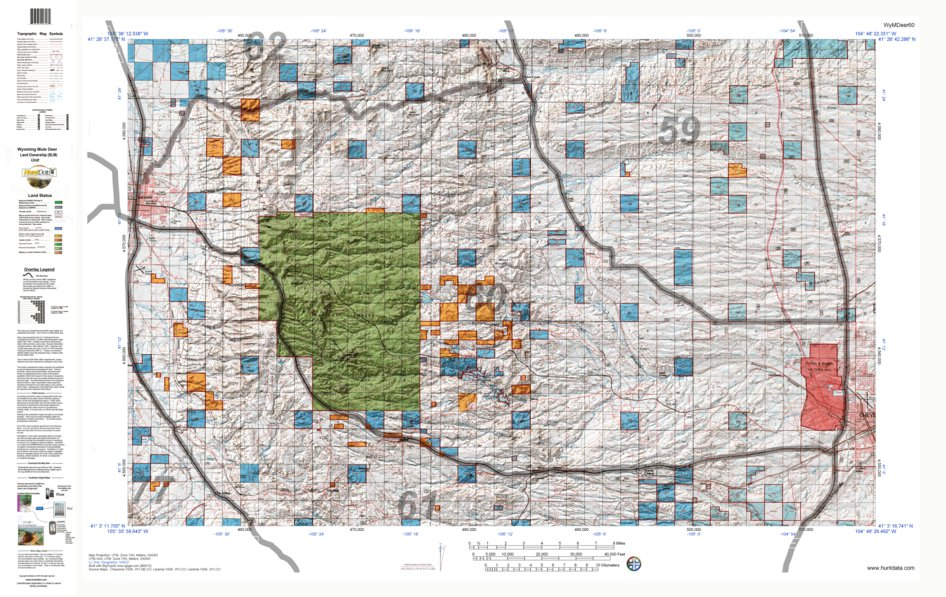 HuntData Wyoming Land Ownership Map for Mule Deer Unit 60 - HuntData ...