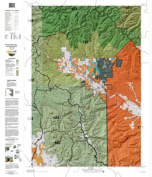 HuntData Wyoming Land Ownership Map for Mule Deer Unit 128 ...