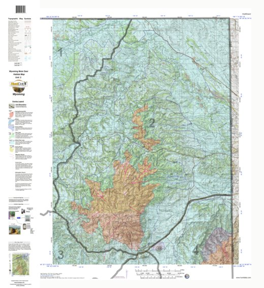 HuntData Wyoming Game Concentration Map for Mule Deer Unit 2 ...