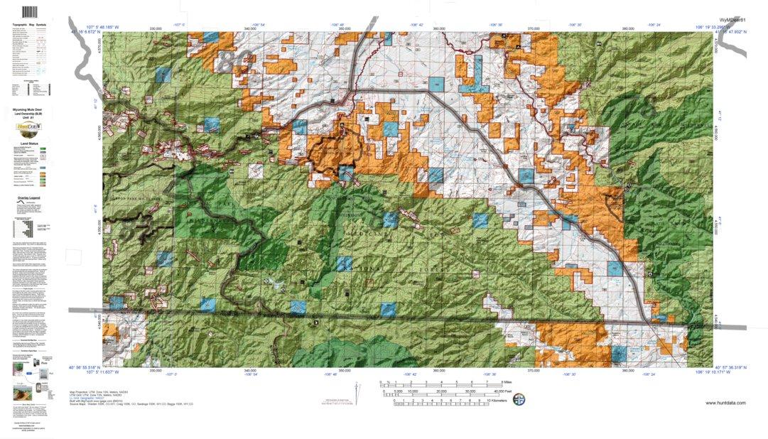 HuntData Wyoming Land Ownership Map for Mule Deer Unit 81 ...