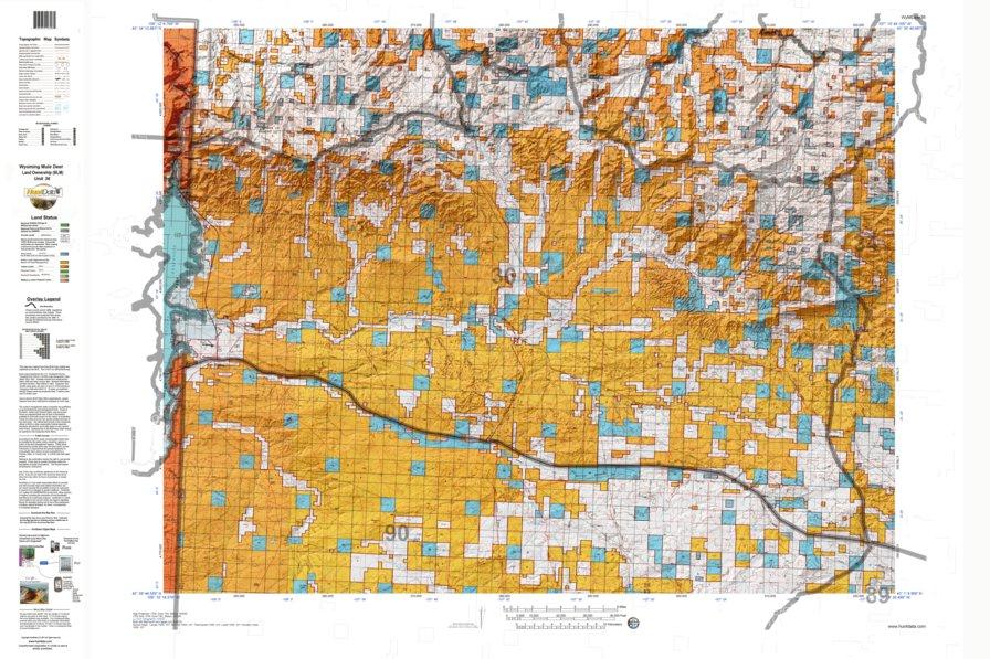 HuntData Wyoming Land Ownership Map for Mule Deer Unit 36 ...