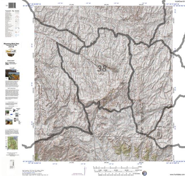 HuntData Wyoming Topo Map for Mule Deer Unit 38 - HuntData LLC ...