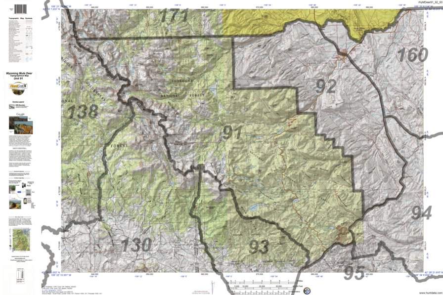 HuntData Wyoming Topo Map for Mule Deer Unit 91 - HuntData LLC ...