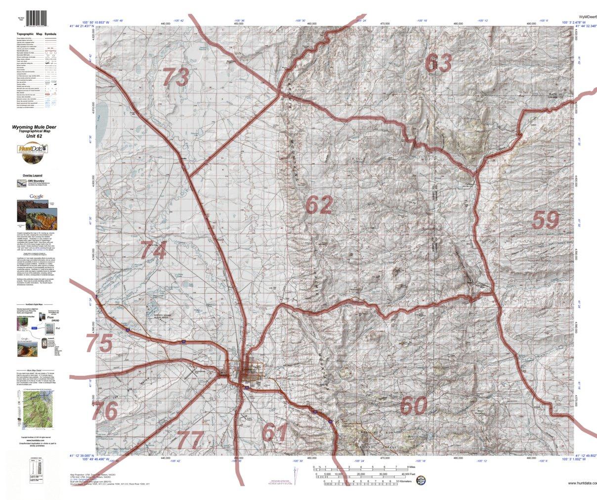 HuntData Wyoming Topo Map for Mule Deer Unit 62 - HuntData LLC ...