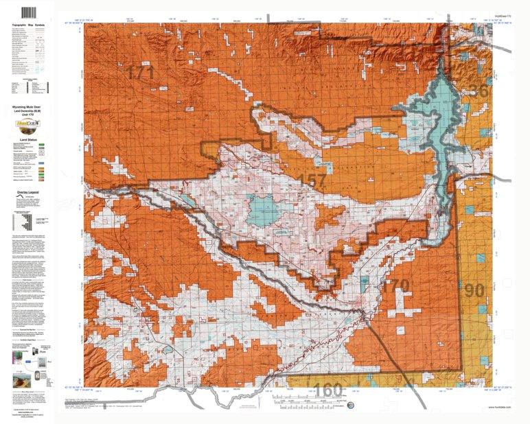 HuntData Wyoming Land Ownership Map for Mule Deer Unit 170 ...