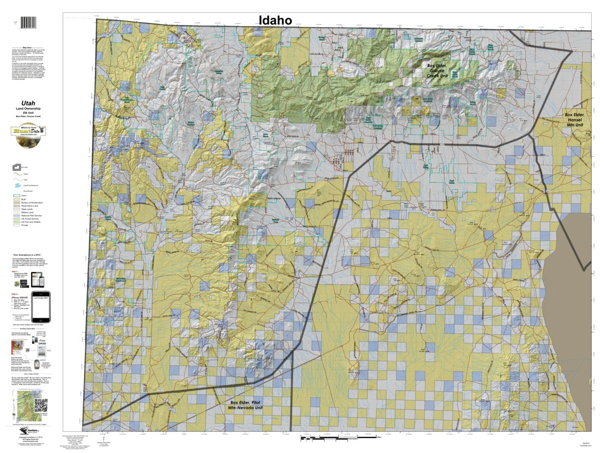 Box Elder Grouse Creek Utah Elk Hunting Unit Map with Land