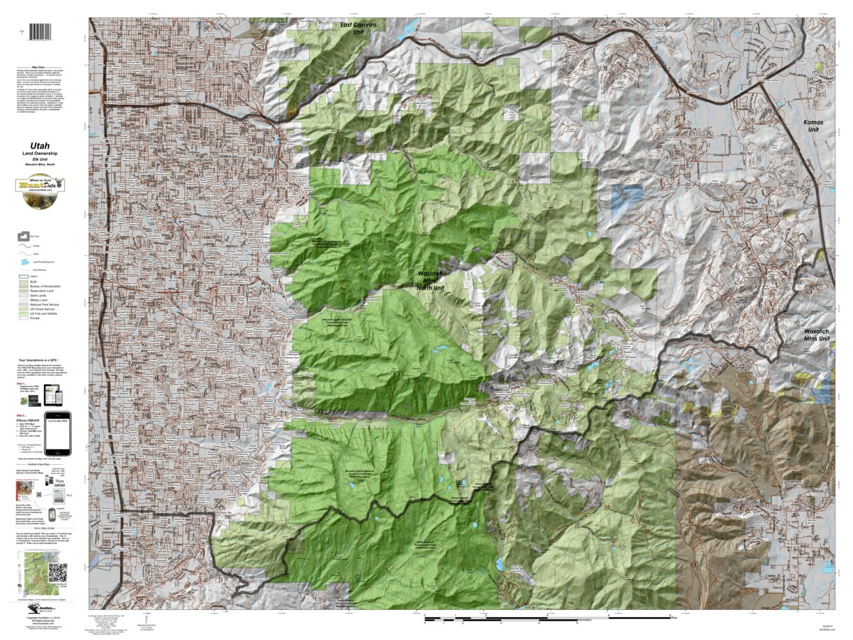 Wasatch Mtns, North Utah Elk Hunting Unit Map with Land Ownership ...
