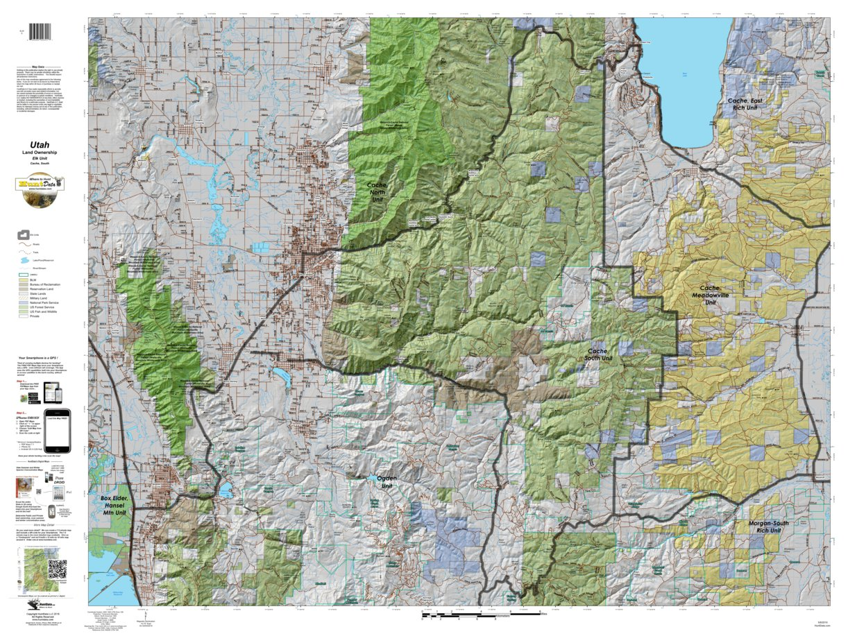 Cache, South Utah Elk Hunting Unit Map with Land Ownership ...
