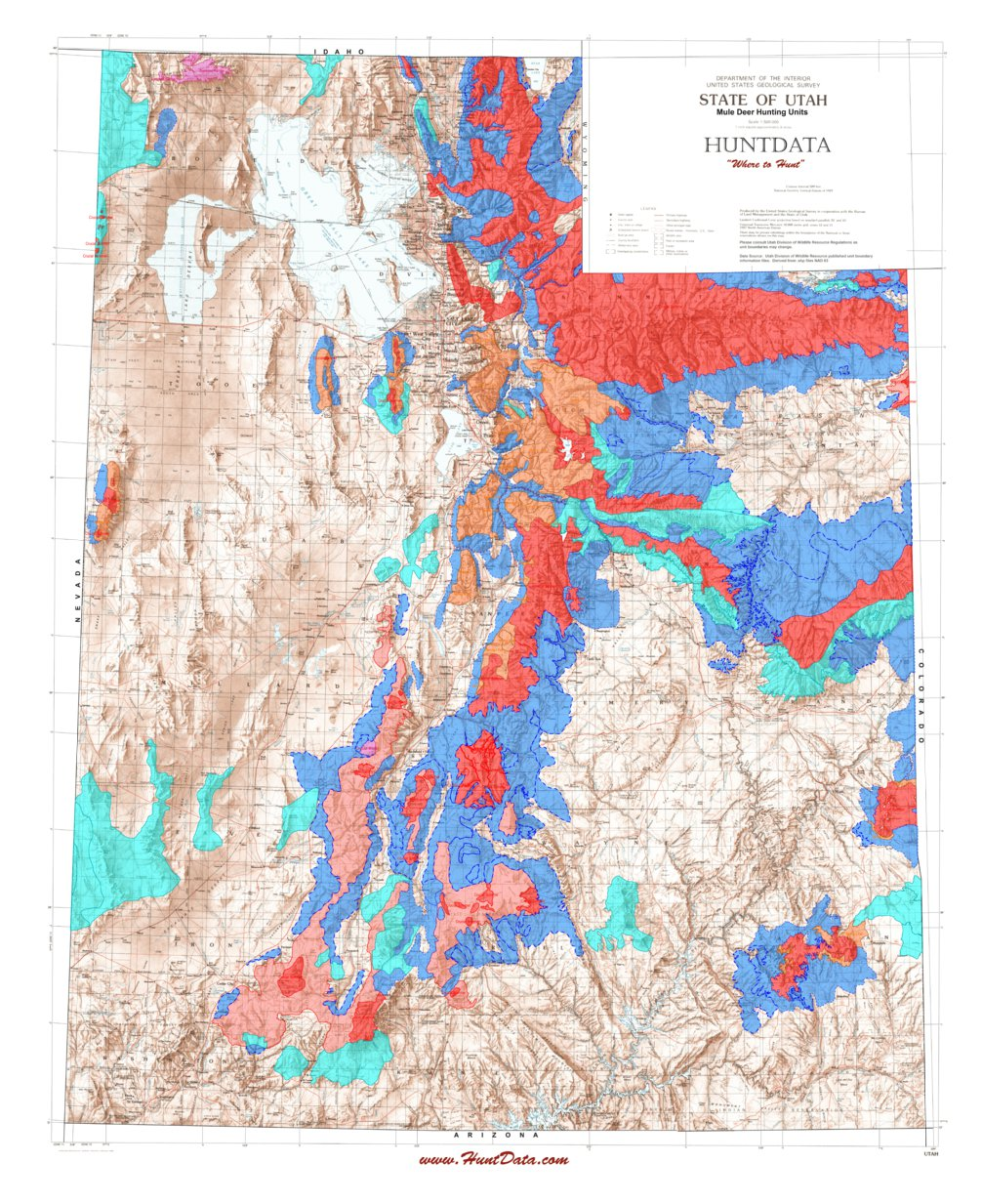 Ut State Map.Utah State Map With Elk Unit Boundary Overlays Huntdata Llc