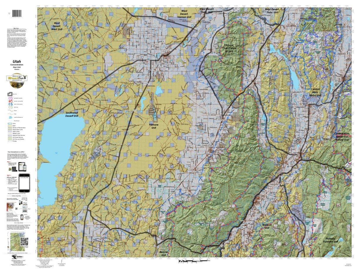 Fillmore Utah Mule Deer Hunting Unit Map With Land Ownership And