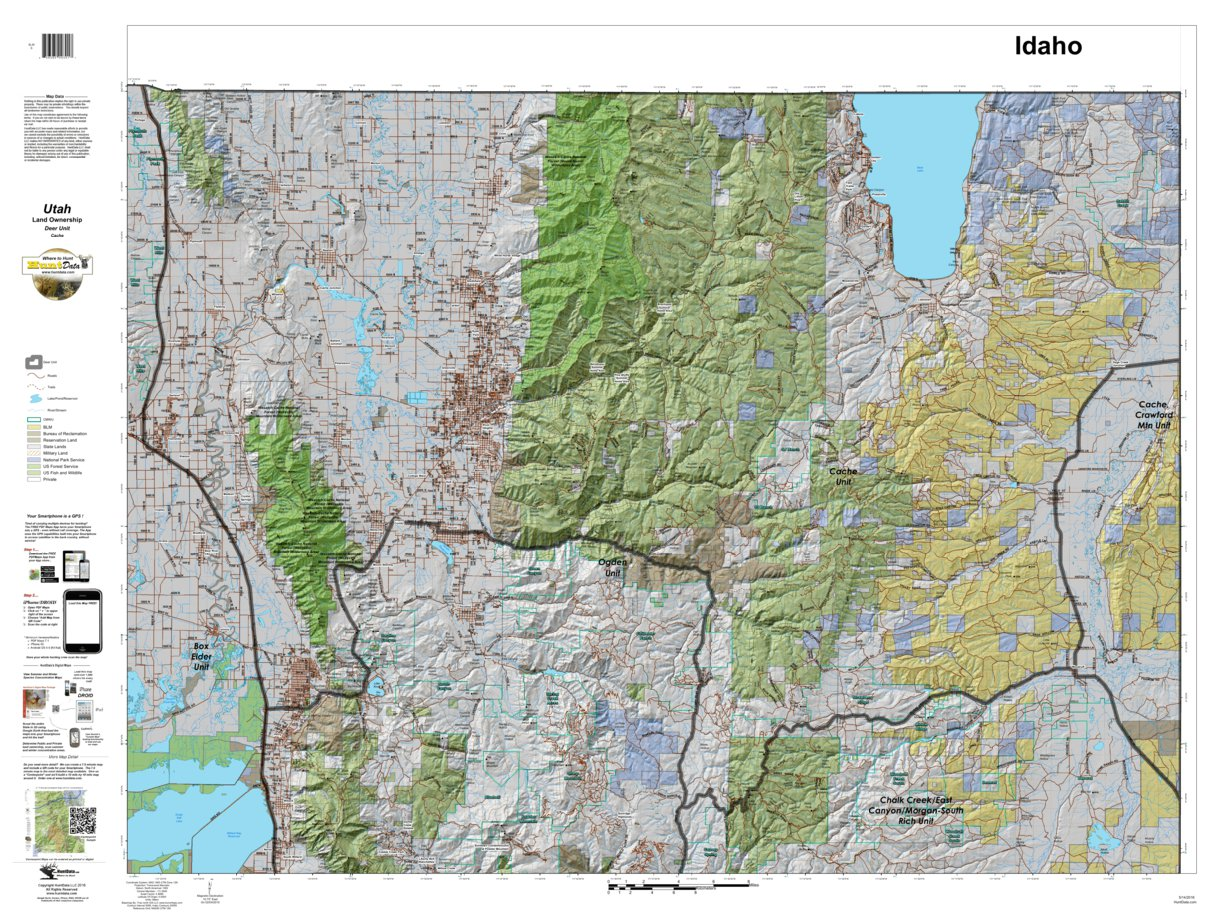 Cache Utah Mule Deer Hunting Unit Map with Land Ownership - HuntData ...