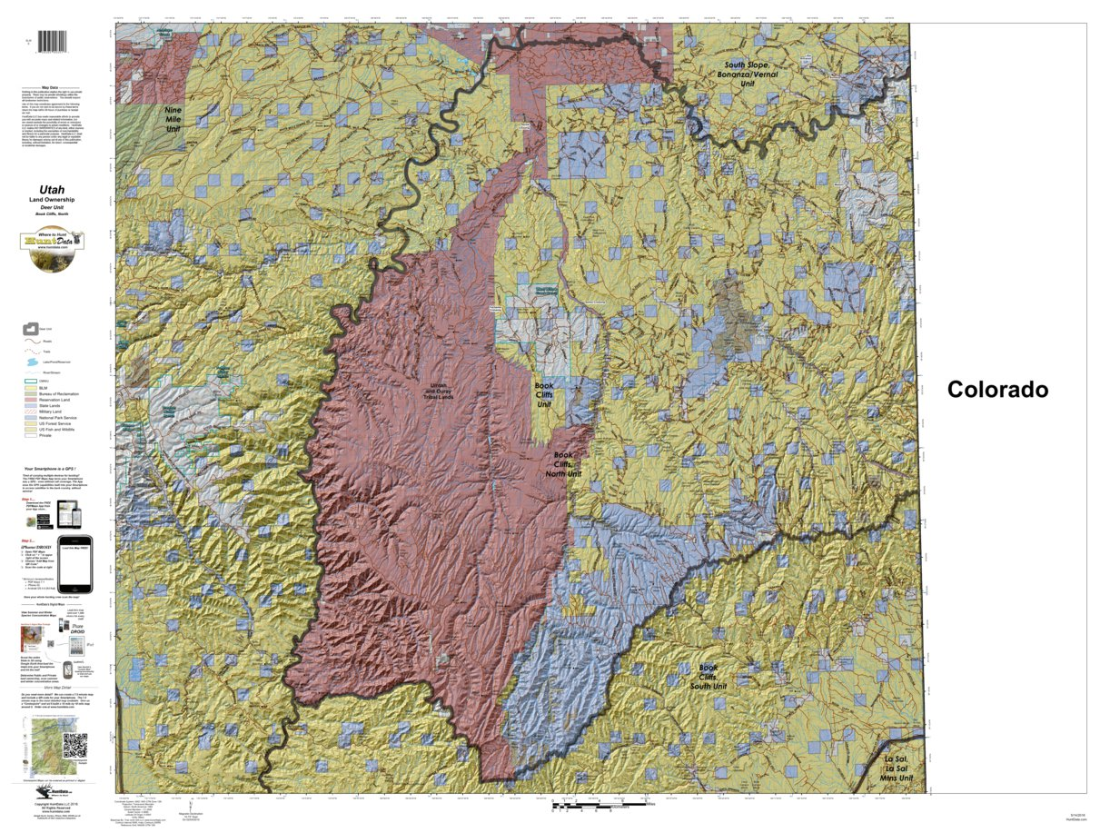 Book Cliffs NORTH Utah Mule Deer Hunting Unit Map With Land - Colorado hunting zone map